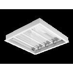 2615 Luminária fluorescente de embutir com refletor em alumínio anodizado alto brilho e difusor em poliestireno translúcido compatível com fluorescente Led, tubo LED.