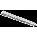 2630 Luminária fluorescente de embutir, conjunto ótico, refletor e aletas parabólicas em alumínio anodizado alto brilho, dupla parabólica, com ótimo controle de ofuscamento, para 1x14W, 1x28/54W, 1x16W e 1x32W, compatível com fluorescente Led, tubo LED.