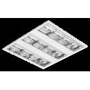 2644 Luminária fluorescente de embutir com refletor e aletas parabólicas em alumínio alto brilho, com 3 aletas, dupla parabólica, com acabamento entre os óticos em chapa lisa na cor branca, compatível com fluorescente Led, Tubo LED.