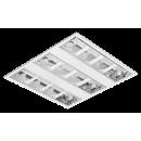 2694 Luminária fluorescente de embutir com refletor parabólico em alumínio alto brilho, 3 aletas em chapa de aço branca, com acabamento entre os óticos em chapa lisa na cor branca, compatível com fluorescente Led, Tubo LED.