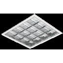 2826 Luminária Fluorescente de embutir com refletor parabólico em alumínio alto brilho e 3 aletas branca, compatível com Fluorescente LED, Tubo Led.