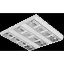 3694 Luminária fluorescente de sobrepor, iBright, com refletor parabólico em alumínio alto brilho, 3 aletas em chapa de aço branca, com acabamento entre os óticos em chapa lisa na cor branca, compatível com fluorescente Led, Tubo LED.