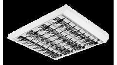 3828 Luminária fluorescente de sobrepor, iBright, conjunto ótico, refletor e aletas parabólicas em alumínio anodizado alto brilho, dupla parabólica, com ótimo controle de ofuscamento, compatível com fluorescente Led, tubo LED. Corpo sextavado.