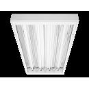 4653 Luminária fluorescente Industrial com difusor, iBright, corpo em chapa e refletor parabólico em alumínio alto brilho, difusor em policarbonato transparente ou vidro temperado, compatível com fluorescente Led, tubo LED,instalação pé direito alto.