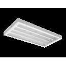 4654 Luminária fluorescente Industrial, iBright, corpo em chapa e refletor parabólico em alumínio anodizado alto brilho,alojamento do reator no corpo, compatível com fluorescente Led, tubo LED,instalação pé direito alto.